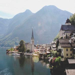 Der Blick auf Hallstatt in Österreich, Ausflug von Berchtesgaden aus